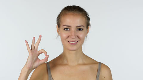 Okay Gesture by Beautiful Girl, White Background Footage