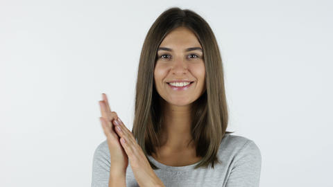 Clapping, applause by Appreciating Girl, White Background in Studio Footage