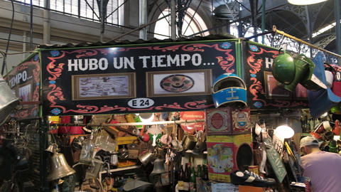 People shopping and looking antiques in San Telmo Fair Live Action