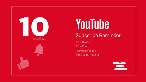 10 Youtube Subscribe Reminder Overlays Motion Graphics Template