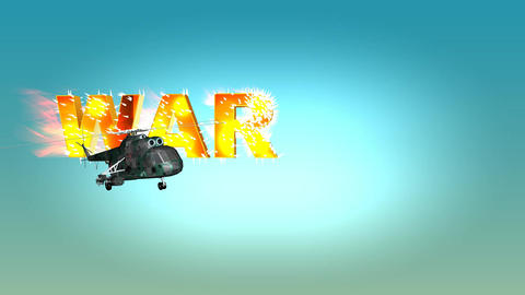 372 3d animated template about war and peace with flying heliocopter and shooting words war and open Animation