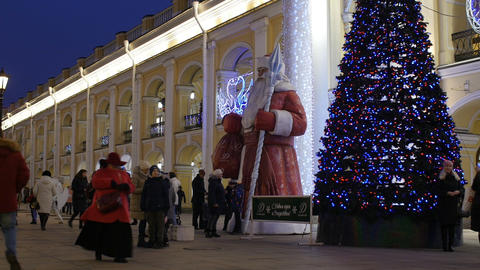 St. Nicholas with a staff and a Christmas tree, time lapse Live Action