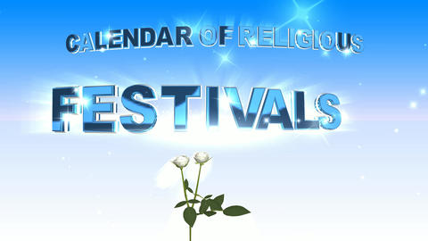 381 3d animated template with words CALENDAR OF RELIGIOUS FESTIVALS Animation