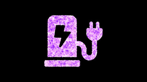 Symbol charging station shimmers in three colors: Purple, Green, Pink. In - Out loop. Alpha channel Animation