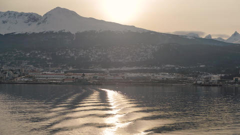Sunset over the city of Ushuaia, Argentina, the most southerly city on earth Live Action