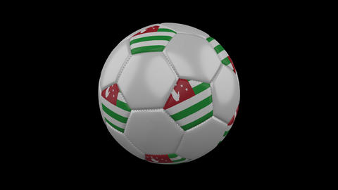 Abkhazia flag on a ball rotates on a transparent background, alpha channel loop Animation