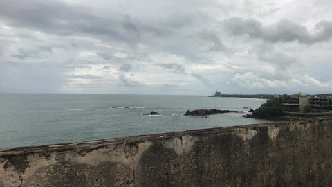 Galle, Sri Lanka, calm ocean near the fortress Live Action