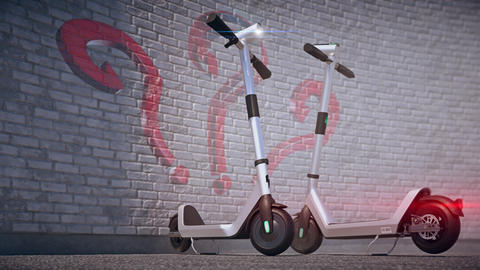 Shared scooters. Graffiti with question sign on the brick wall Animation