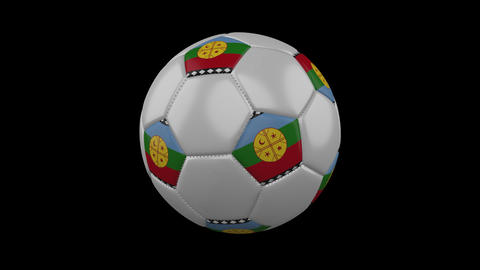 Mapuche flag on a ball rotates on a transparent background, alpha channel loop Animation
