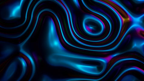 Looped digital background with waving blue oil reflective gradient surface Animation