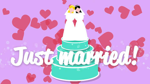 Bride and bride just married. Wedding cake animation Animation