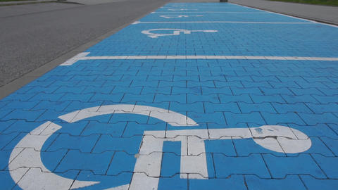 A lot of Disabled parking place - slow motion Live Action