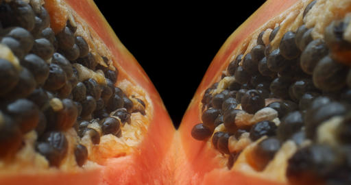Unique shot of papaya filmed with a macro probe lens Live Action