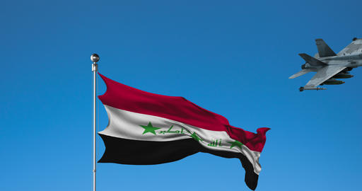 Combat Aircraft and Flag of Iraq on Sky Background Live Action