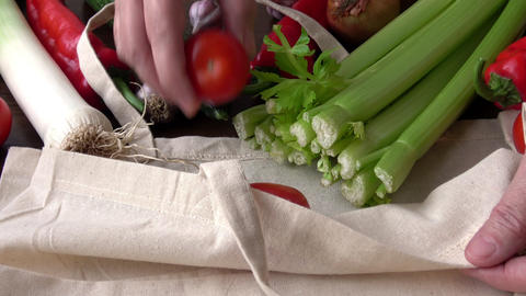 Eco bag with products vegetables.Zero waste use less plastic concept. Fresh vegetables organic in Live Action