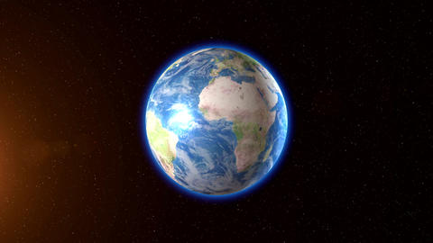 Earth with Stars and Sun Animation