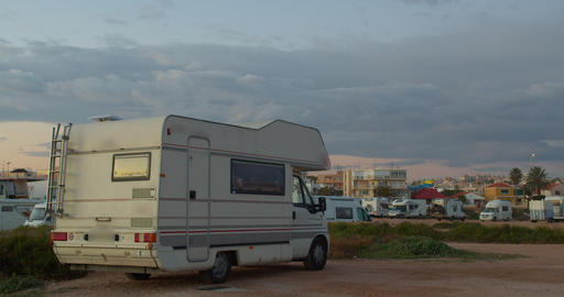 Motorhome. Family vacation travel. Holiday trip in motorhome. Caravan car Live Action