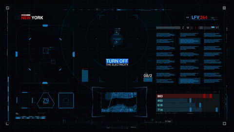 Futuristic elements HUD user interface 4k - TurnOff Animation