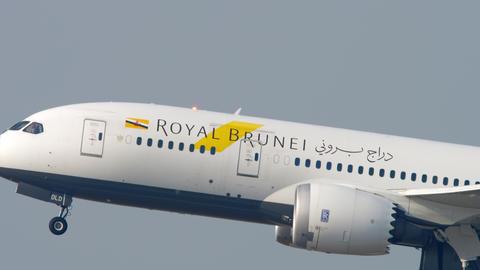 Royal Brunei Boeing 787 departure from Hong Kong GIF