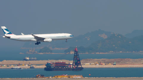Airbus A330 approaching in Hong Kong intrenational airport GIF