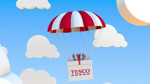 TESCO logo on moving box moves under parachute. Editorial loopable 3D animation Live Action