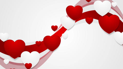 Red wavy video animation with hearts Animation