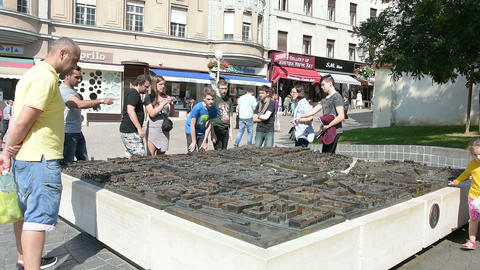 the bronze map map of the city in the center of Zagreb Footage