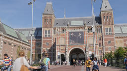 Cyclists cycling under Rijksmuseum tunnel,Amsterdam,Netherlands Footage