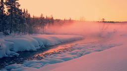 Evening Rose Mist over the Snow-Covered Forest and a River Footage