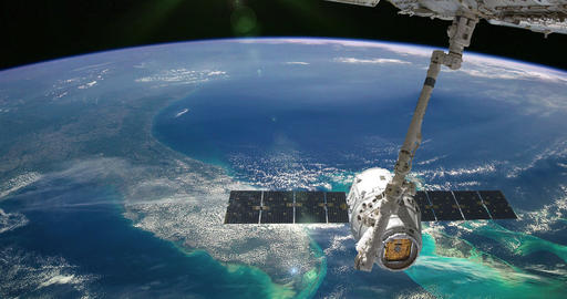 International Space Station Over The Planet Earth Live Action