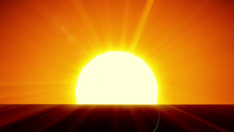 Beautiful Sun Rising over Horizon. 3d animation of the Sunrise. HD 1080 Animation