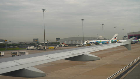 Airplane taxiing in Suvarnabhumi airport, Bangkok GIF