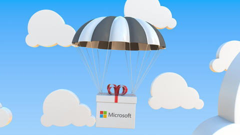 MICROSOFT logo on moving box moves under parachute. Editorial loopable 3D Live Action
