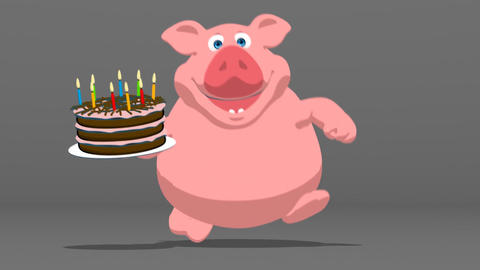 Fun pig with a birthday cake Animation