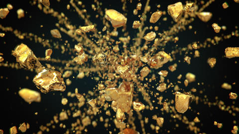 Exploding gold gemstones in 4K Animation