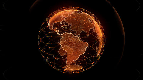Global network network connection the world abstract 3D rendering satellites Live Action