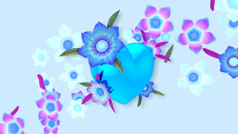 Beautiful abstract background of blooming flowers around a heart Animation