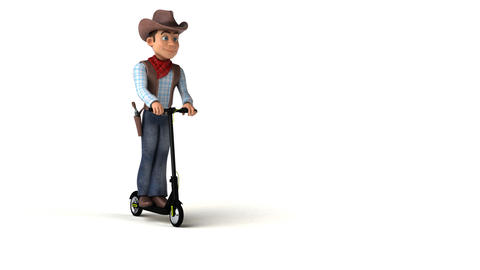 Fun cowboy cartoon character on a scooter Animation