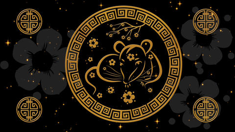 Lunar New Year, Spring Festival background with golden rat, glittering stars Animation