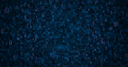 Neon Digital binary background. Seamless loop 4k background for network, big Animation