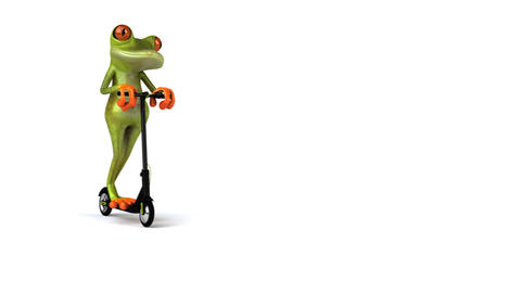 Fun 3D green cartoon frog on an electric scooter Animation