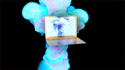 Motion design of a golden laptop with stylised smoke Animation