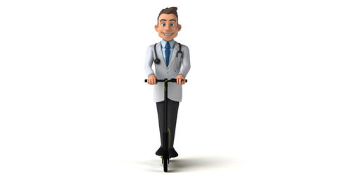 Fun doctor cartoon character on a scooter Animation