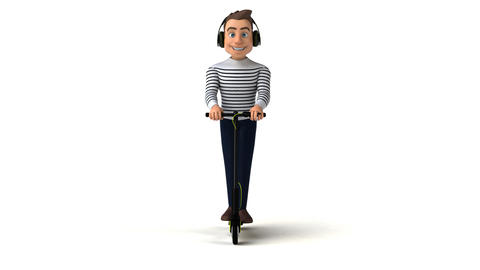 Fun cartoon character on an electric scooter Animation