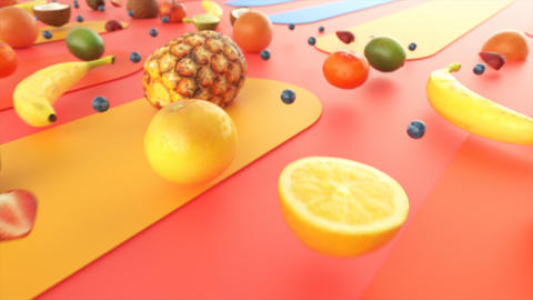 Motion graphics background of healthy fresh fruits Animation
