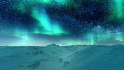 Aurora Borealis in starry night sky over snowy arctic landscape Live Action