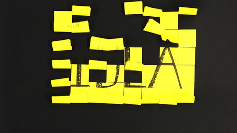Written idea created on post it flying Live Action