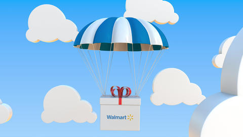 WALMART logo on moving box moves under parachute. Editorial loopable 3D Live Action