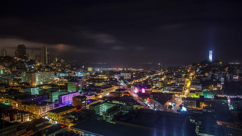 Night San Fransisco Cityscape Time Lapse Footage