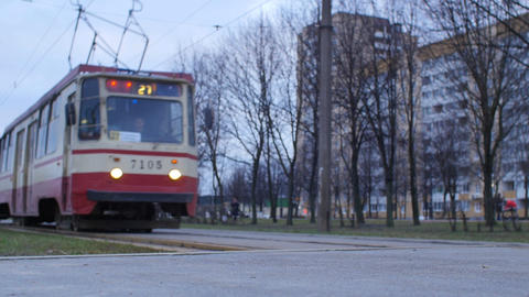 red tram in St. Petersburg Live Action